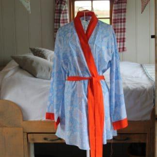 Cobalt Sunflower Short  Jaipur Dressing Gown