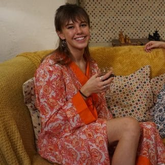 Orange Magnolia Long Jaipur Dressing Gown