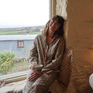 Green and Pink Tulip Olivia Long Wide Leg Pyjamas