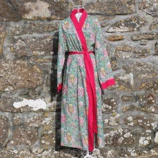 Green Multi Garden Long Jaipur Dressing Gown