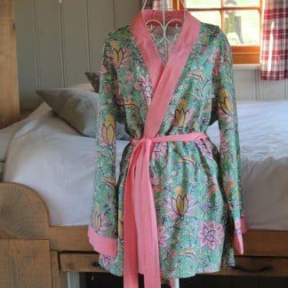 Green Multi Garden Short  Jaipur Dressing Gown