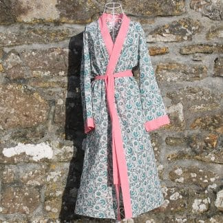 Green and Red Twist Long Jaipur Dressing Gown