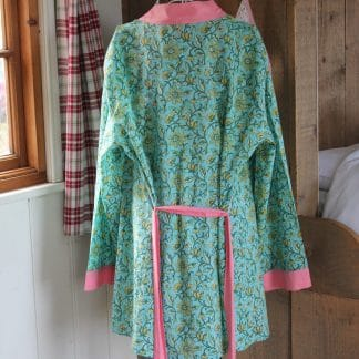 Green and Yellow Twist Short  Jaipur Dressing Gown