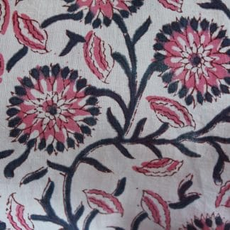 Indigo and Pink Dahlia Short  Jaipur Dressing Gown