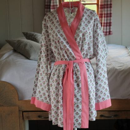 Green and Pink Daisy Short  Jaipur Dressing Gown
