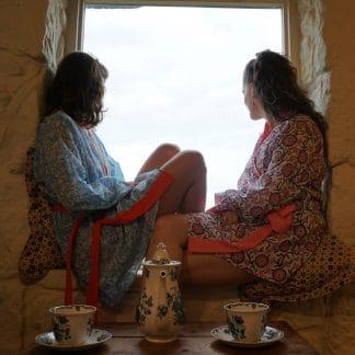 Indigo and Pink Zinnia Short  Jaipur Dressing Gown