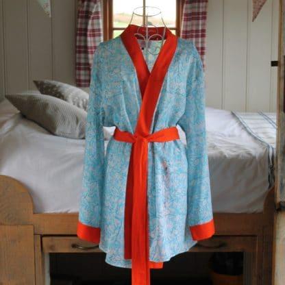 Turquoise Garden Short  Jaipur Dressing Gown