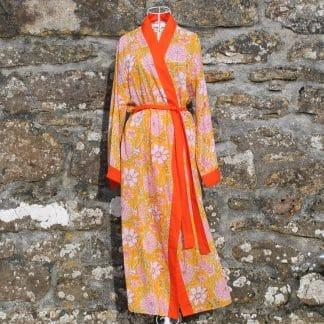 Yellow Multi Garden Long Jaipur Dressing Gown